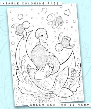 "Shows a digital mockup of the printable coloring page image file. This print-at-home coloring page features a ""green sea turtle"" mermaid species accompanied by three sea turtle sidekicks. The outlines are drawn with a digital ""grainy"" pencil brush."