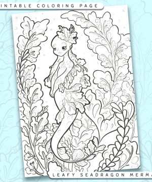 "Shows a digital mockup of the printable coloring page image file. This print-at-home coloring page features a ""leafy seadragon"" mermaid species. The outlines are drawn with a digital ""grainy"" pencil brush."