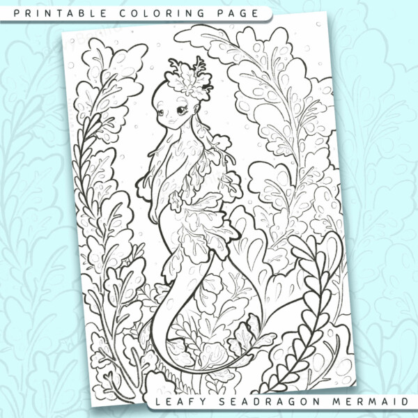 """Shows a digital mockup of the printable coloring page image file. This print-at-home coloring page features a """"leafy seadragon"""" mermaid species. The outlines are drawn with a digital """"grainy"""" pencil brush."""