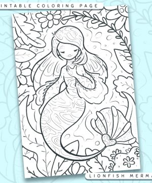 """Shows a digital mockup of the printable coloring page image file. This print-at-home coloring page features a """"lionfish"""" mermaid species. The outlines are drawn with a digital """"grainy"""" pencil brush."""