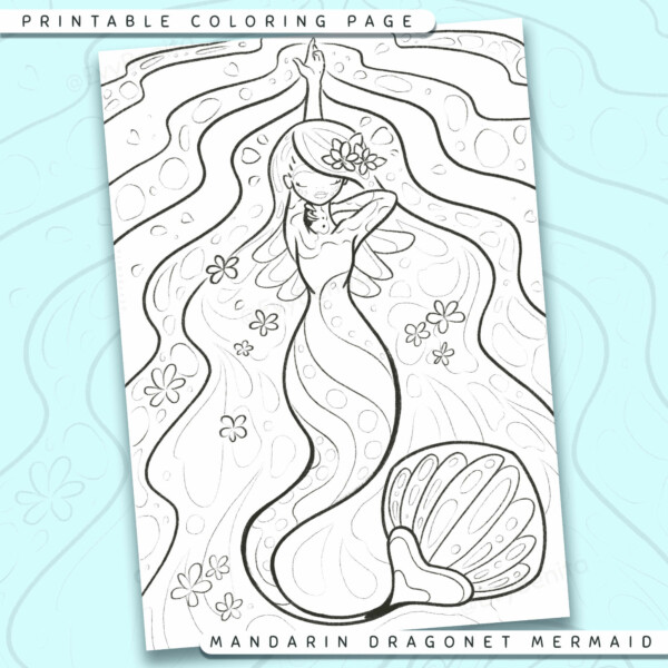 """Shows a digital mockup of the printable coloring page image file. This print-at-home coloring page features a """"mandarin dragonet"""" mermaid species. The outlines are drawn with a digital """"grainy"""" pencil brush."""