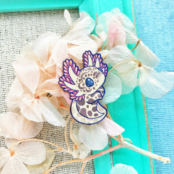 """Cute red mole salamander """"axolotl"""" sustainably sourced wooden pin by Evy Benita."""