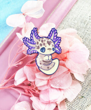"Cute purple mole salamander ""axolotl"" sustainably sourced wooden pin by Evy Benita."
