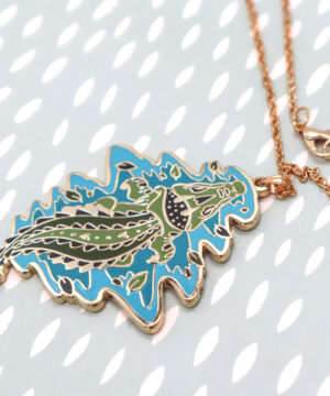 Top-down perspective Saltwater Crocodile Necklace Pendant by Evy Benita
