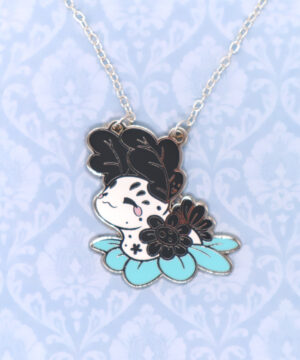Cute cartoon-style Jorunna Parva Nudibranch enamel necklace and pendant by Evy Benita