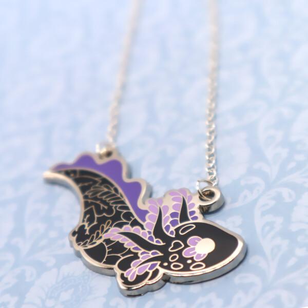 Floral axolotl enamel necklace pendant by Evy Benita