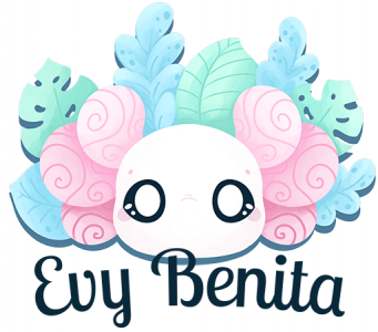 "The Evy Benita brand logo, featuring a cartoon-style axolotl with big, open eyes, and backed by tropical leaves. The text in front reads ""Evy Benita""."