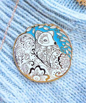 Gold Winter Arctic Fox Enamel Pin