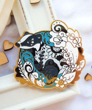 Gold Winter Eurasian Badger Enamel Pin