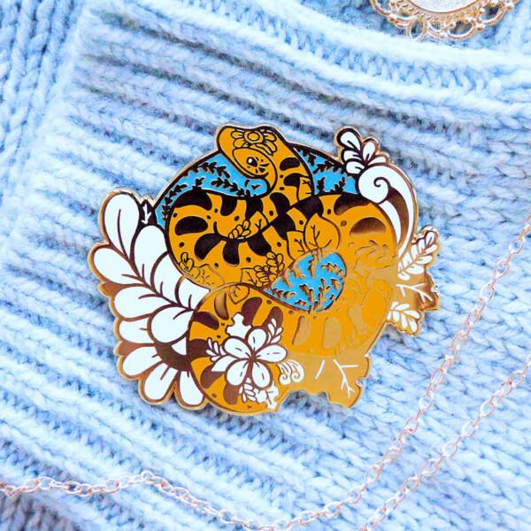 Gold Winter European Adder Enamel Pin 2