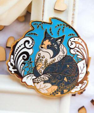 Gold Winter Forest Cat Enamel Pin