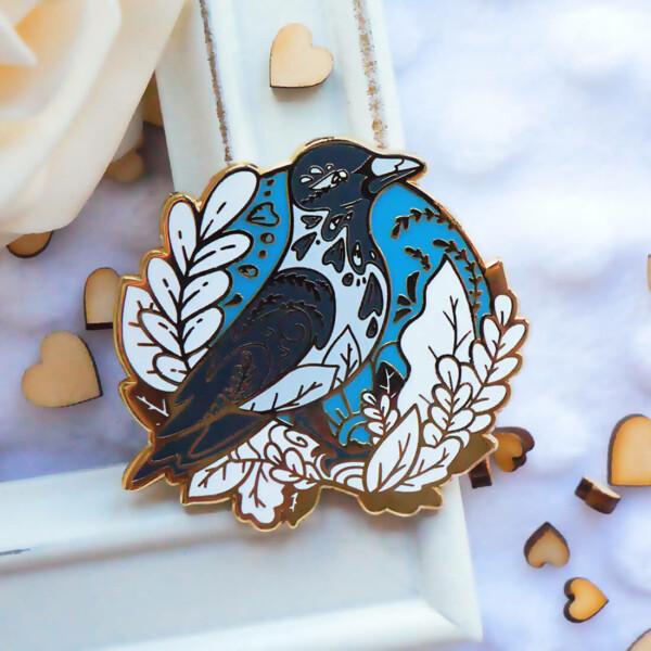 Gold Winter Hooded Crow Enamel Pin
