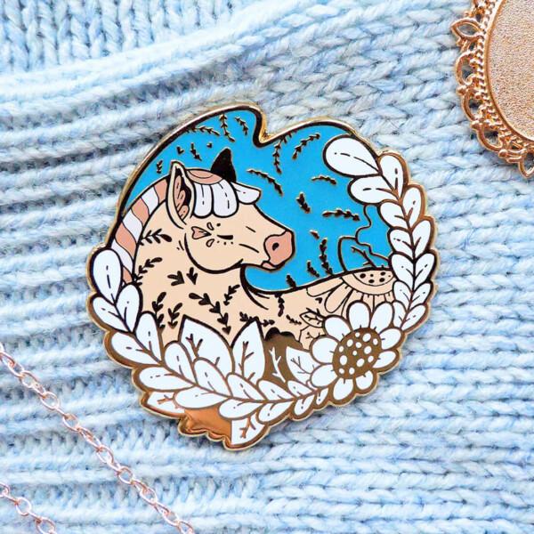 Gold Winter Norwegian Fjord Horse Enamel Pin