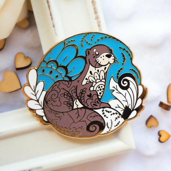 Gold Winter Old World Otter Enamel Pin