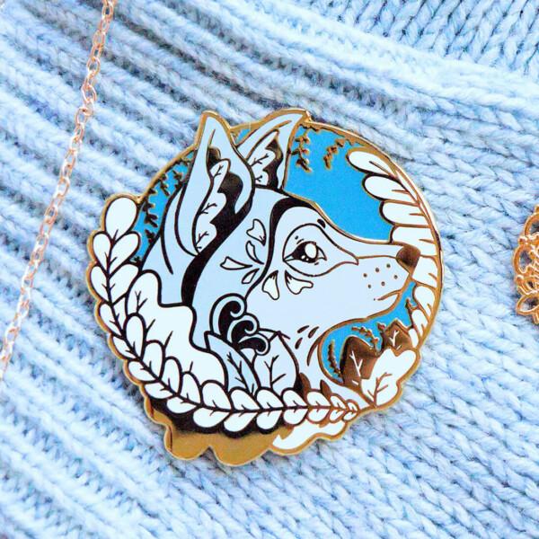 Gold Winter Scandinavian Wolf Enamel Pin