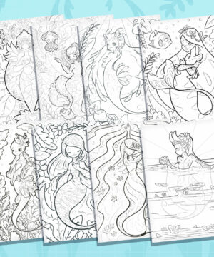 Showing a line-up of eight printable coloring pages overlapping each other. Each coloring page features a different mermaid species from Evy Benita's Mermaids of the Earth collection.