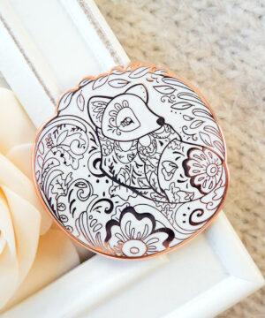 Rose Gold Winter Arctic Fox Enamel Pin