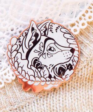 Rose Gold Winter Eurasian Wolf Enamel Pin 2