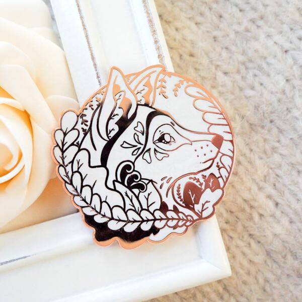 Rose Gold Winter Eurasian Wolf Enamel Pin