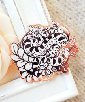 Rose Gold Winter European Adder Enamel Pin