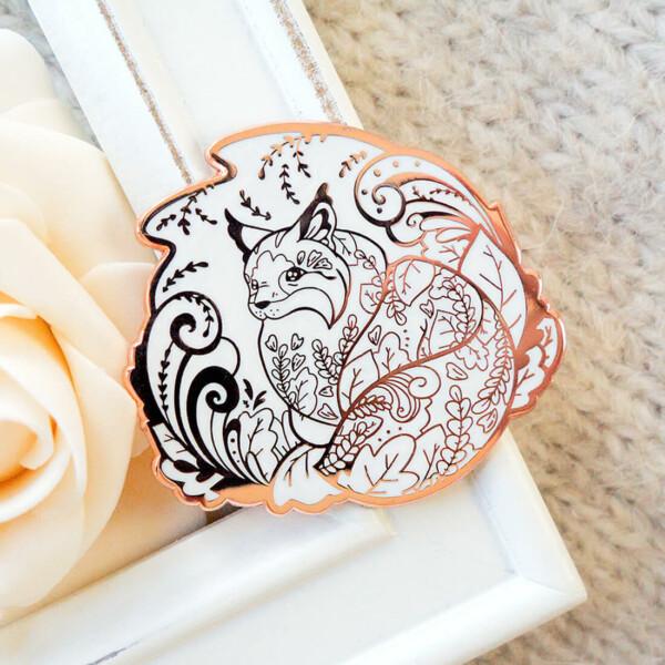 Rose Gold Winter Forest Cat Enamel Pin