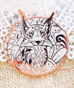 Rose Gold Winter Lynx Enamel Pin