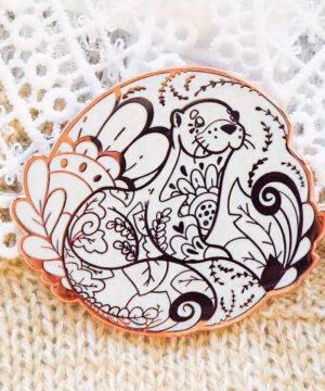 Rose Gold Winter Old World Otter Enamel Pin
