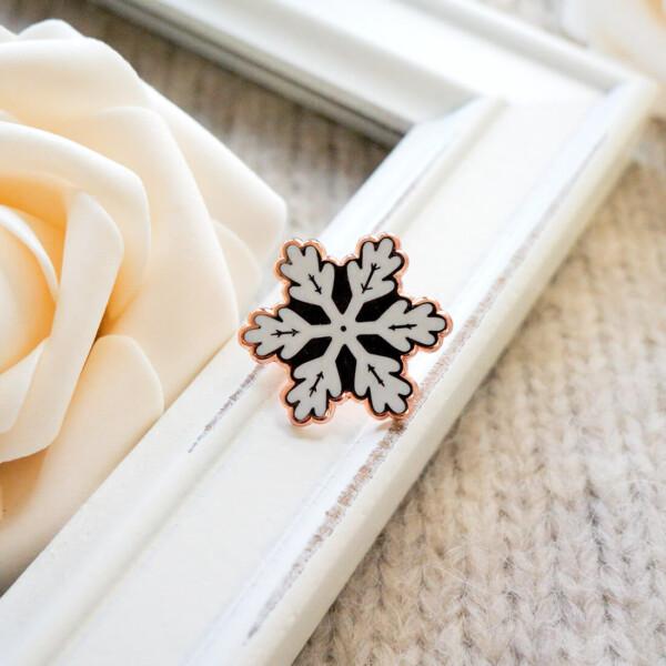 Rose Gold Winter Snowflake Enamel Pin