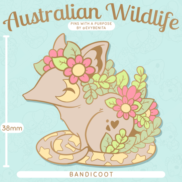 A stunning charity enamel pin featuring the Bandicoot: a marsupial native to Australia.