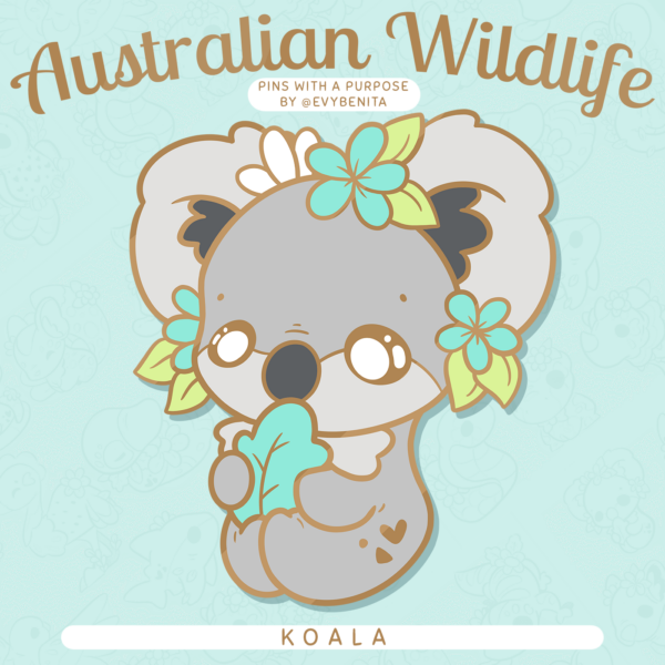 A stunning charity enamel pin featuring the Koala: a marsupial native to Australia.