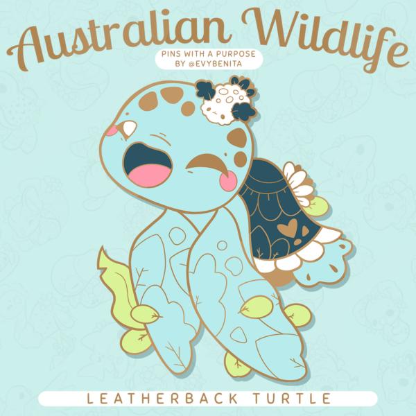 A cute leatherback sea turtle enamel pin design.