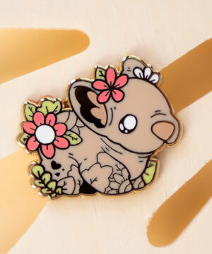 Kawaii Australian wombat enamel pin design by Evy Benita