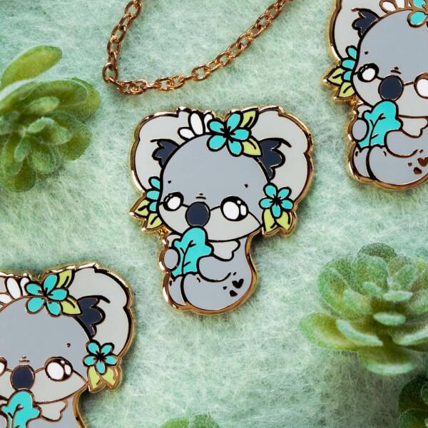 Cute chibi koala enamel pin design by Evy Benita