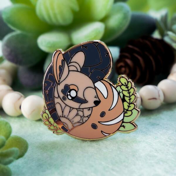 Cute numbat enamel pin design by Evy Benita