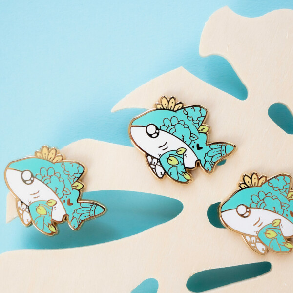 Cute bull shark enamel pin design by Evy Benita