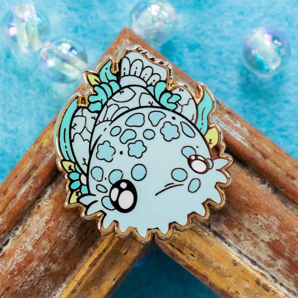 Cute ornate wobbegong shark enamel pin design by Evy Benita