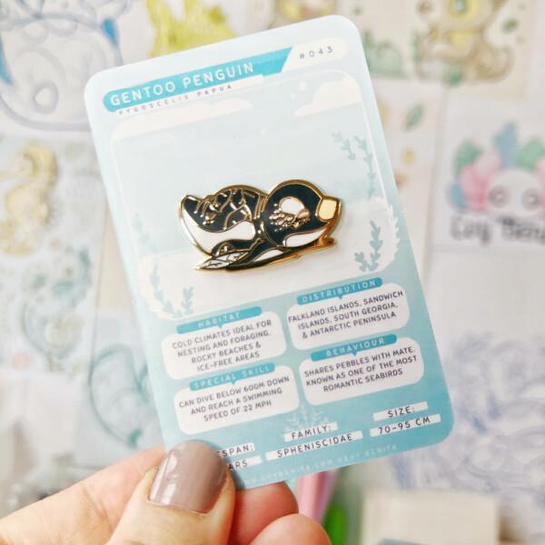 Gentoo Penguin hard enamel pin by Evy Benita