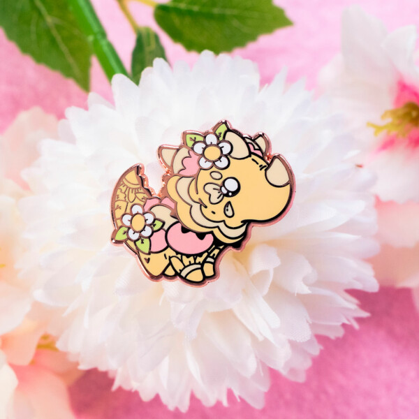 A kawaii reptile pin featuring the Australian Thorny Devil. Made with hard enamel and rose gold plating. Designed by Evy Benita.