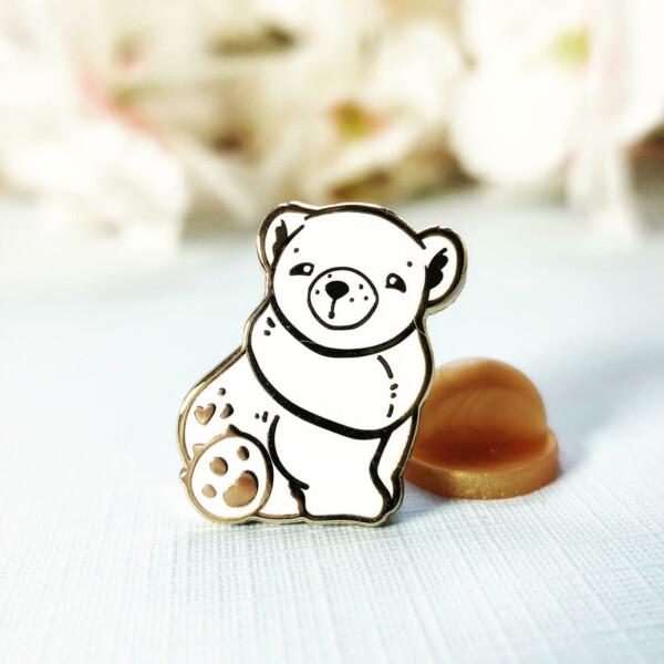 Miniature Polar bear enamel pin by Evy Benita