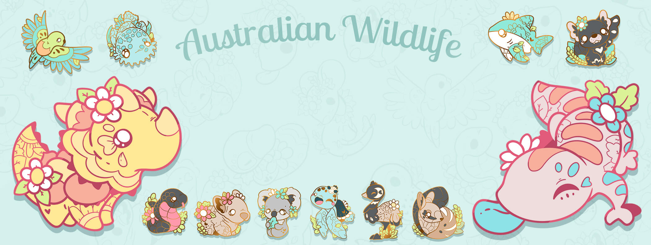 A cute preview of Evy Benita's Australian Wildlife charity enamel pin designs. This set features an orange-bellied parrot, a wobbegong shark, a thorny devil, a red-bellied black snake, a numbat, a tasmanian devil, a leatherback sea turtle, a bull shark, a numbat, an emu, and more!