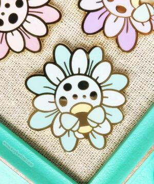 Kawaii flower and bee enamel pin badges by Evy Benita