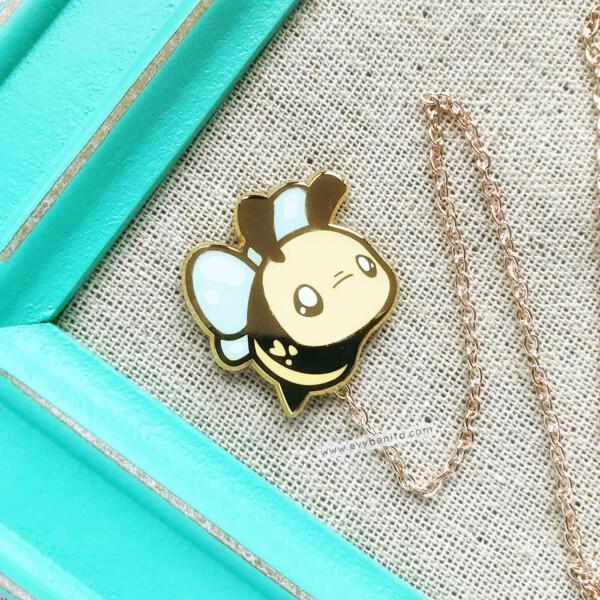 Chibi bumble bee hard enamel pin by Evy Benita