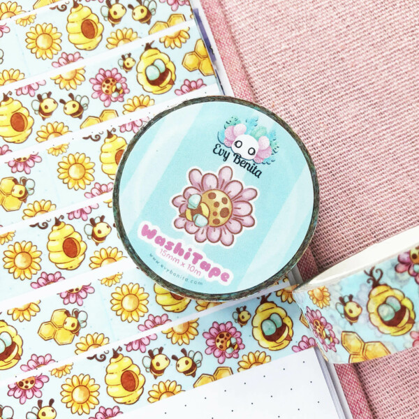 """Cute kawaii bumble bee washi tape by Evy Benita. Vibrant colors and drawn in a """"chibi"""" cartoon aesthetic."""