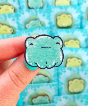 Kawaii teal frog wooden pin on lily pad backing card