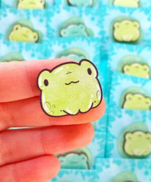 Cute green kawaii frog wooden pin on lily pad backing card