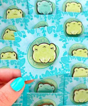 Cute sleepy kawaii frog wooden pin on lily pad backing card