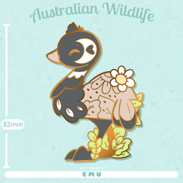 Shows estimated measurements for my emu enamel pin: 32mm tall.