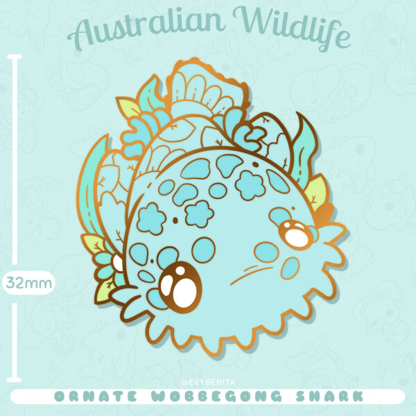 Shows estimated measurements for my wobbegong shark enamel pin: 32mm tall.