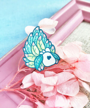 "Kawaii ""Sea Sheep"" (Costasiella Kuroshimae) wooden pin illustrated by Evy Benita."