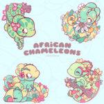 May 2021 Enamel Pin Club Theme: African Chameleons! The image shows four chibi-style chameleon enamel pin designs.